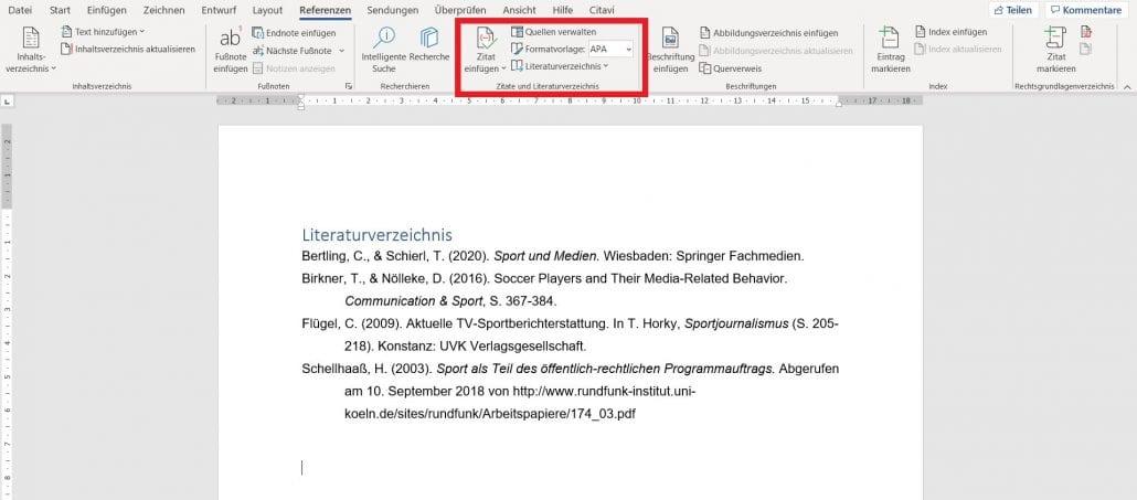 Beispiel Literaturverzeichnis nach APA Standard zum Upload