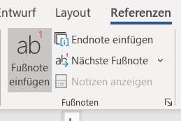 Fußnoten Option in Microsoft Word